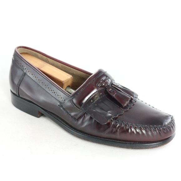 BASS WEEJUNS Mahogany Tassel Kilted Moc Loafers